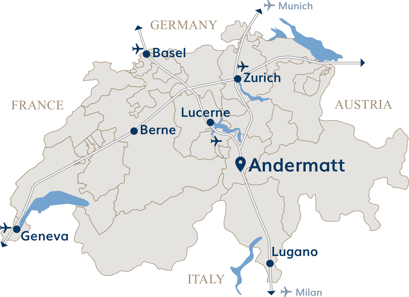 Location of Andermatt in Switzerland